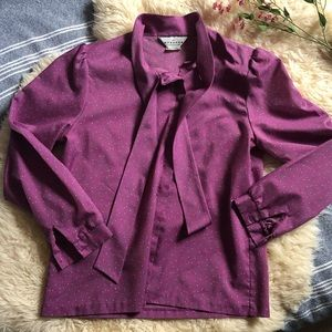 Vintage fuchsia puff sleeve blouse 🌸